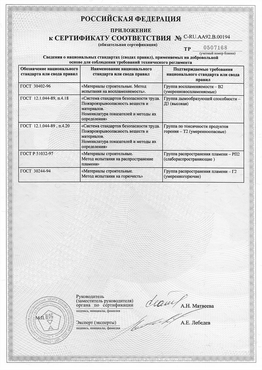 Сотовый поликарбонат сертификат соответствия приложение